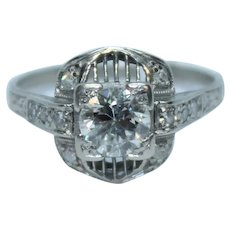 Vintage Art Deco Platinum Diamond Ring - Approx. 0.72c