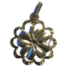 Vintage 14K Yellow Gold Four Leaf Clover Charm