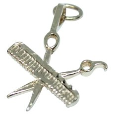 14K Yellow Gold Scissor & Comb Barber / Hairstylist Charm