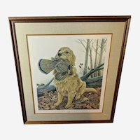 """John Ruthven Limited Edition Lithograph """"Dusty"""" Golden Retriever Sporting Dog Series"""