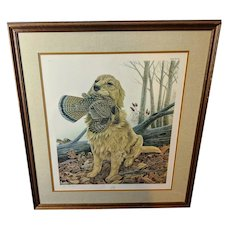 "John Ruthven Limited Edition Lithograph ""Dusty"" Golden Retriever Sporting Dog Series"
