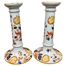 Antique Hand Painted Wedgwood Candlesticks Dated 1881