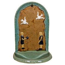 1930's Folk Art Hanging Art Pottery Fountain / Bird Bath