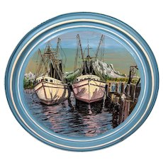 1916 Weaver Dial Porthole Ship Painting on 55 Gallon Drum Lid