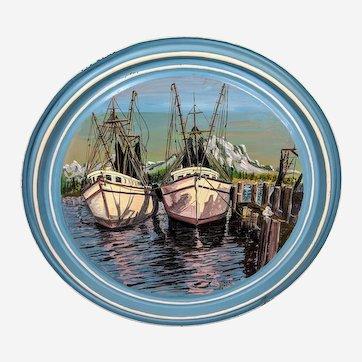 1916 Weaver Dial Porthole Ship Painting on 55 Gallon Drum Lid
