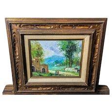 Mid Century Impressionist Oil Painting signed De Angelis