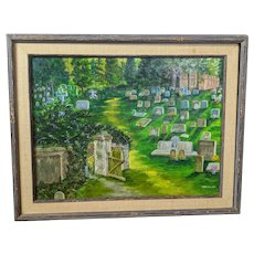 Harry S. Bressler Original Oil Painting on Canvas of a Cemetery