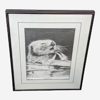 "Bob Patterson Sea Otter Print ""Sleeping Beauty"" Hand Signed"