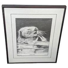 "Bob Patterson Sea Otter Print ""Sleeping Beauty"" Hand Signed"