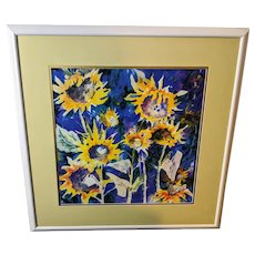 "Roungsri Taw Raisanen ""Sunflowers"" Limited Edition Lithograph Hand Signed"