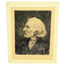 Frederic Jacque Antique Hand Engraving Portrait of Charles Jacque