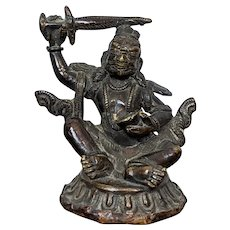 Antique Bronze Buddhist Mahakala Wrathful Deity Sculpture