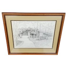 Timothy Jon Struna Original Pen Ink Drawing of a House in the Woods 1988