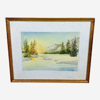 Volodymyr (Vladimir) Nosan Original Winter Sunrise Landscape Watercolor