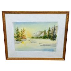 Volodymyr (Vladimir) Nosan Original Winter Sunrise Landscape Watercolor