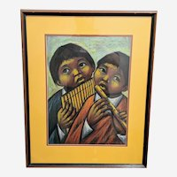 Arturo Nieto Original Modernist Oil Pastel Painting - Listed Ecuadorian Artist