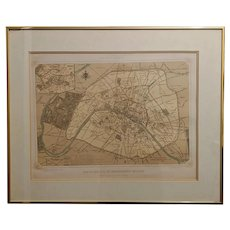 "Antique Felix Benoist Paris Map Lithograph Titled ""Paris Dans Sa Spelndeur"""