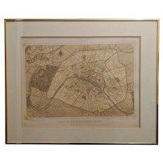 """Antique Felix Benoist Paris Map Lithograph Titled """"Paris Dans Sa Spelndeur"""""""