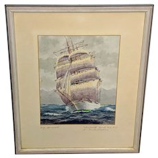 1959 Claus Menskus Clipper Ship Watercolor Painting from Germany