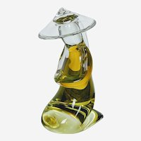 Arnaldo Zanella Murano Art Glass Kneeling Man Sculpture