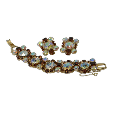 Juliana Large Clear with Amber Root Beer Crystal Bracelet & Earrings