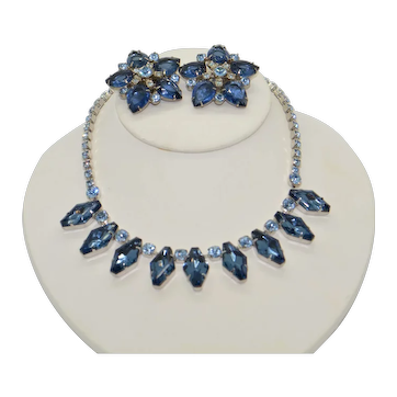 Juliana Blue Crystal Necklace with Matching 5-point Earrings