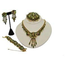 Juliana Watermelon Parure Necklace Bracelet Brooch Earrings