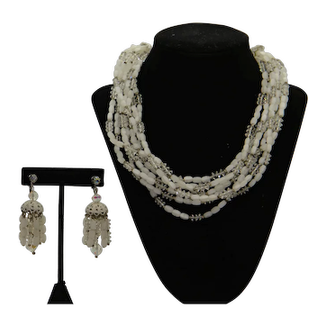 Laguna White & Clear Beads Set with 8-Strand Necklace and Chandelier Earclips