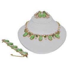 Schiaparelli Parure Green and Pink Stones Necklace Bracelet Earrings