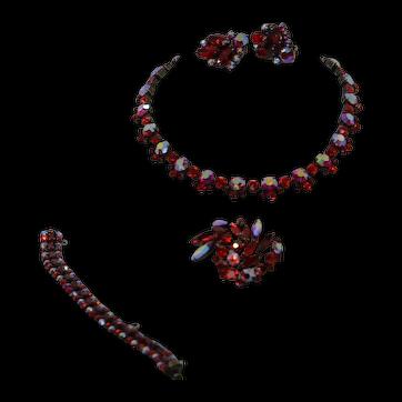 Sherman Red AB Japanned Parure Necklace Bracelet Brooch Earring