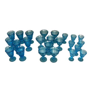 Sapphire Tri-Mold Azure Blue Set Of 24 Sandwich Pattern Glasses
