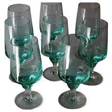Sasaki Harmony Aqua Set of 8 Stunning Juice Glasses Mid Century