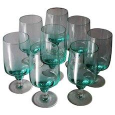 Sasaki Harmony Aqua Set of 8 Stunning Ice Tea Glasses Mid Century