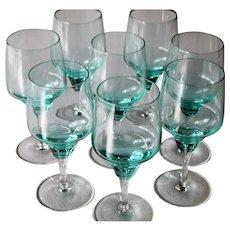 Sasaki Harmony Aqua Set of 8 Stunning Wine Glasses Mid Century