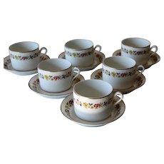 Richard Ginori Sorrento Set Of Six Cup & Saucer Sets