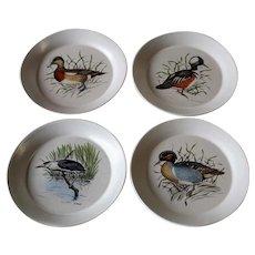 Bennington Potters Set Of Four Bird Design Salad Plates