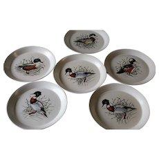 Bennington Potters Set Of Six Bird Design Dinner Plates
