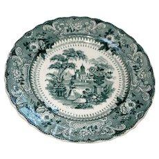 Antique Podmore & Walker Florentine Green Luncheon Plate Circa 1850