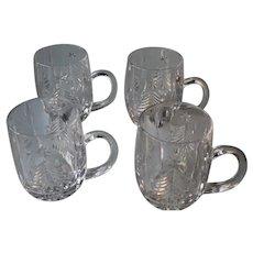Mikasa Christmas Tree Crystal Set of 4 Mugs