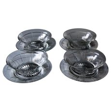 Heisey Rib & Panel Clear Set of 4 Nappy Bowls and 4 Bread Plates