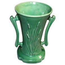 McCoy USA Cattail Handled Vintage Vase