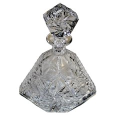 Vintage Heavy Cut Crystal Decanter & Matching Glass Stopper Star Pinwheel Design