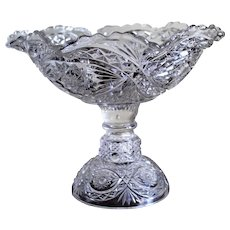 Large Glass Compote Vintage Scalloped Table Bowl