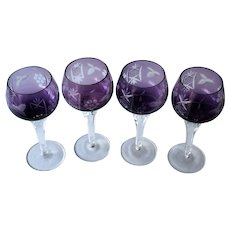 Amethyst Cut To Clear Set of Four Stemware Glasses