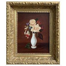 Sarah E. Davis (American: Fl. 1870's), Still Life of Roses in an Alabaster Vase