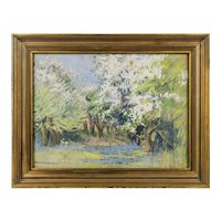 Harriette Bowdoin (American: 1880-1947), Spring Forest, an Impressionist Landscape by an Historic Woman Artist