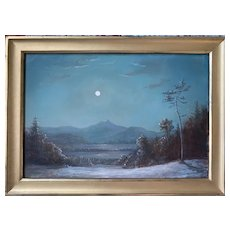 Lauren Sansaricq (b. 1990), Moon Over Mt. Chocorua, 2013, Painted in the Style of the Hudson River School