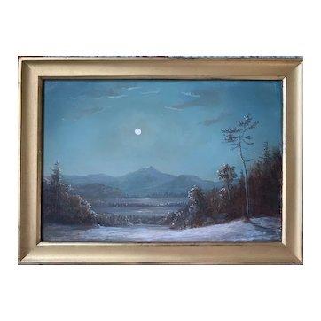 Lauren Sansaricq (b. 1990), Moon Over Mt. Chocorua, 2013, Painted in the Style of the Hudson River School