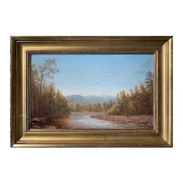 Lauren Sansaricq (b. 1990), View of Mt. Washington from the Saco River, 2012, Painted in the Style of the Hudson River School