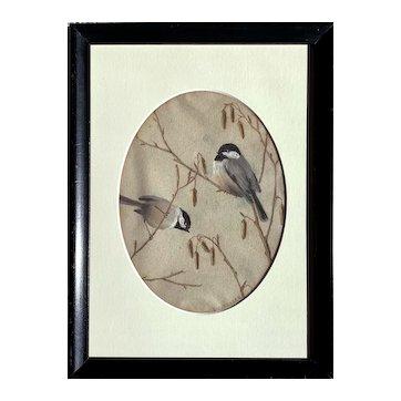 Emma Bailey Fraser (American: 1881-1957) 20th Century Painting of Chickadees